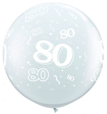 3FT Diamond Clear  Age 80 Latex Balloons x 2